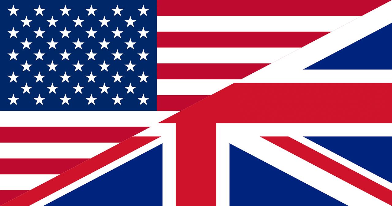 Drapeau des USA et de la Grande Bretagne